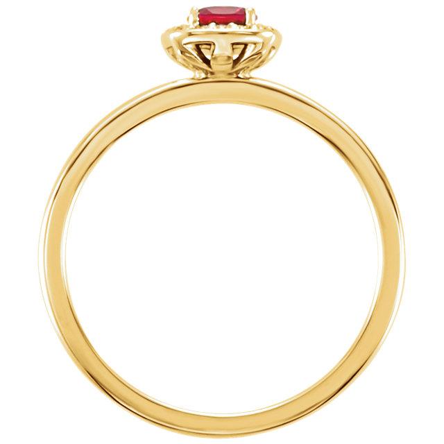 14K Yellow Chatham® Lab-Created Ruby & .04 CTW Diamond Halo-Style Ring