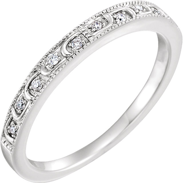14K White .07 CTW Diamond Band