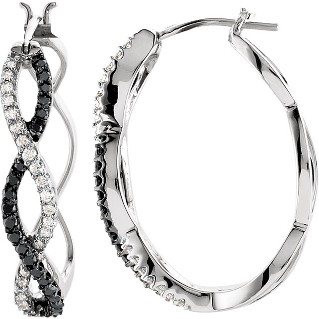 14K White 1/2 CTW Black & White Diamond Hoop Earrings