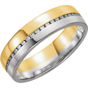 14K Yellow & White 6mm 1/3 CTW Diamond Band Size 7