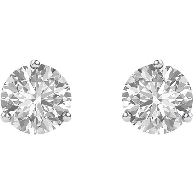 14K White 5mm Round Forever One™ Moissanite Earrings