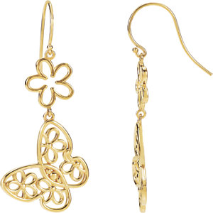 Sterling Silver Butterfly & Floral-Inspired Earrings