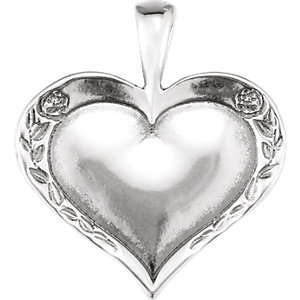Sterling Silver Heartprint Rose Pendant