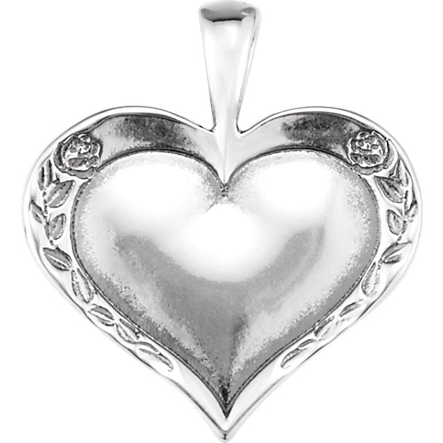 Sterling Silver Heartprint Rose Pendant