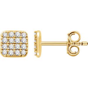Earrings , 14K Yellow 1/5 CTW Diamond Square Cluster Earrings