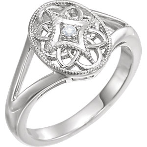 Sterling Silver .025 CTW Diamond Ring Size 6