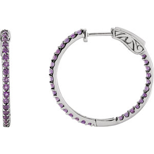14K White Amethyst Hoop Earrings