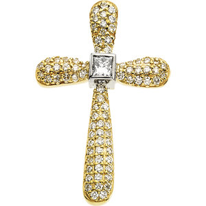 Pendant, 14K Yellow & White .66 CTW Diamond Cross