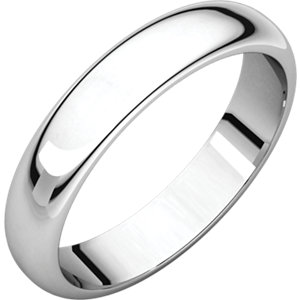 10K White 4mm Half Round Band