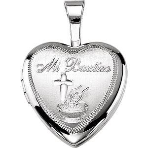 Sterling Silver Bautizo Heart Locket