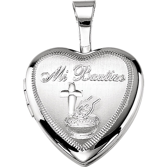 Sterling Silver Bautizo Heart Locket