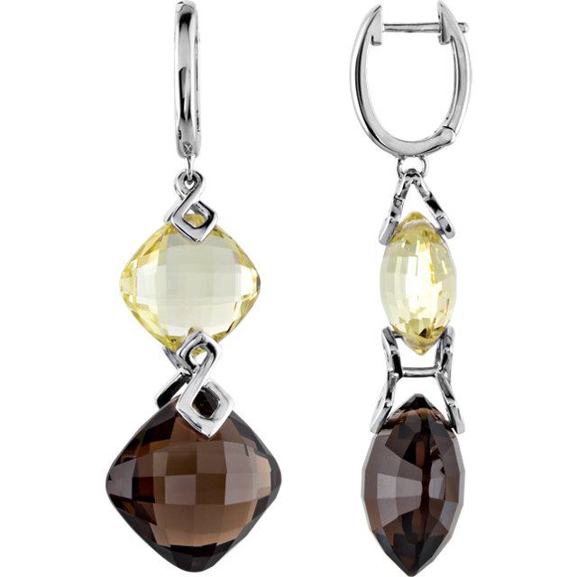 Sterling Silver Pink Quartz & Rose De France Amethyst Earrings
