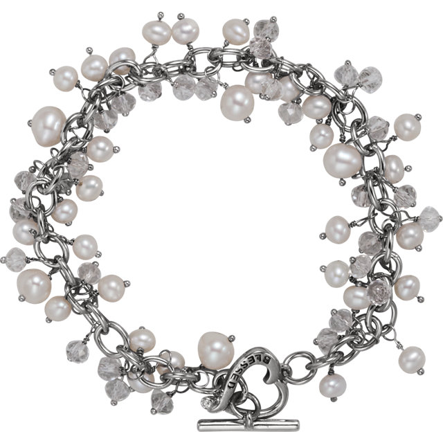 Sterling Silver Inspirational Blessings Pearl & Cubic Zirconia Bracelet with