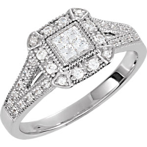 Sterling Silver Cubic Zirconia Halo-Style Square Illusion Ring Size 7