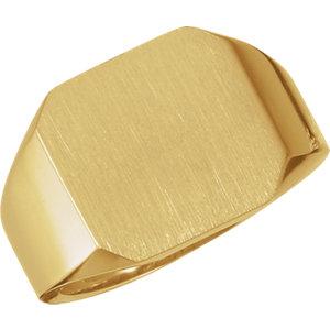 Fashion Rings , 10K Yellow 15mm Men's Signet Ring