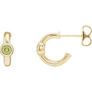 14K Yellow Peridot J-Hoop Earrings