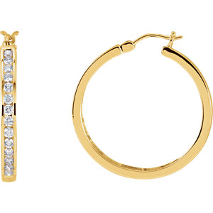 14K Yellow 1 CTW Diamond Hoop Earrings