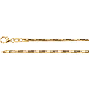 "14K Yellow 1.5 mm Solid Round Snake 16"" Chain"