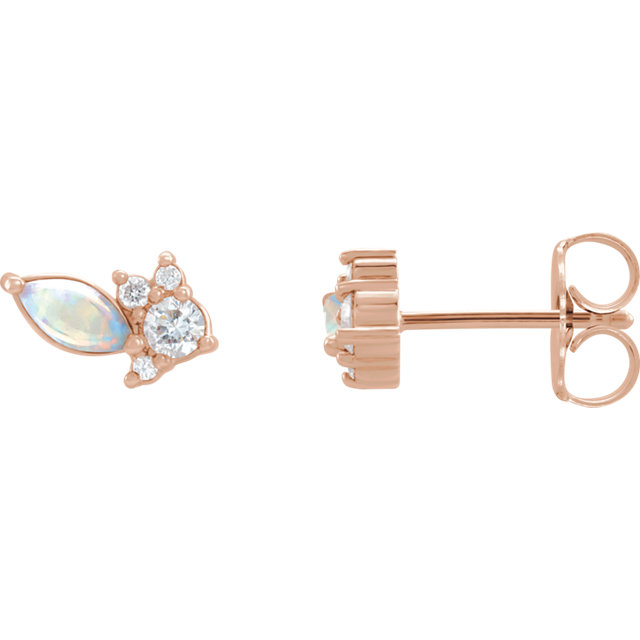 14K Rose Australian Opal & 1/6 CTW Diamond Cluster Earrings