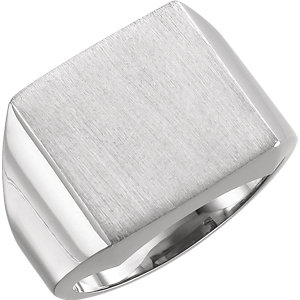 Fashion Rings , 10K X1 White 18mm Men's Signet Ring with Brush Finish