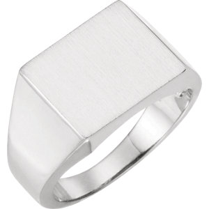 Fashion Rings , 10K White 13.9x15.4mm Square Signet Ring