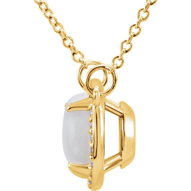 14K Yellow 8 mm Round White Opal & .05 CTW Diamond 16