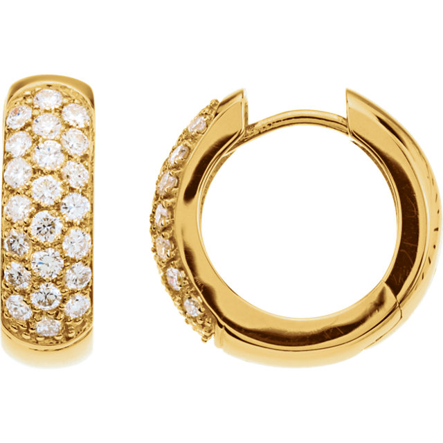 14K Yellow 7/8 CTW Diamond Hoop Earrings