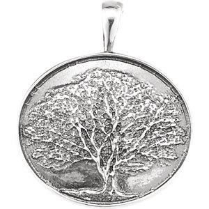 Sterling Silver Heartprint Oak Tree Pendant
