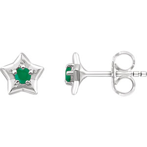 Sterling Silver Cubic Zirconia  May Birthstone Youth Earrings