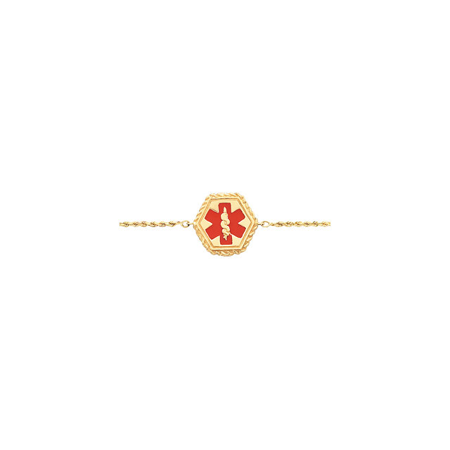 14K Yellow & Red Enamel Medical Identification Rope 7