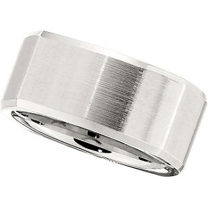 Cobalt 10mm Square-Shaped Ridged Band with Satin Finish Size 12.5