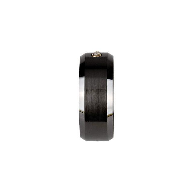 Black Ceramic & 14K Yellow 8mm 1/10 CTW Diamond beveled Band Size 12.5