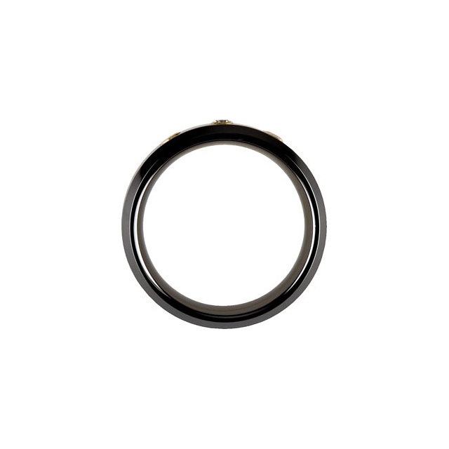 Black Ceramic Couture™ & 14K Yellow 1/10 CTW Diamond 8 mm Band Size 12.5