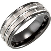 8.0mm Black Ceramic Couture® Band with Tungsten Inlay