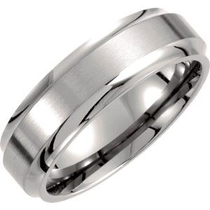 Titanium 7mm Ridged Band Size 7
