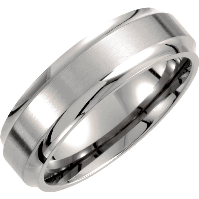 Titanium 7 mm Ridged Band Size 7