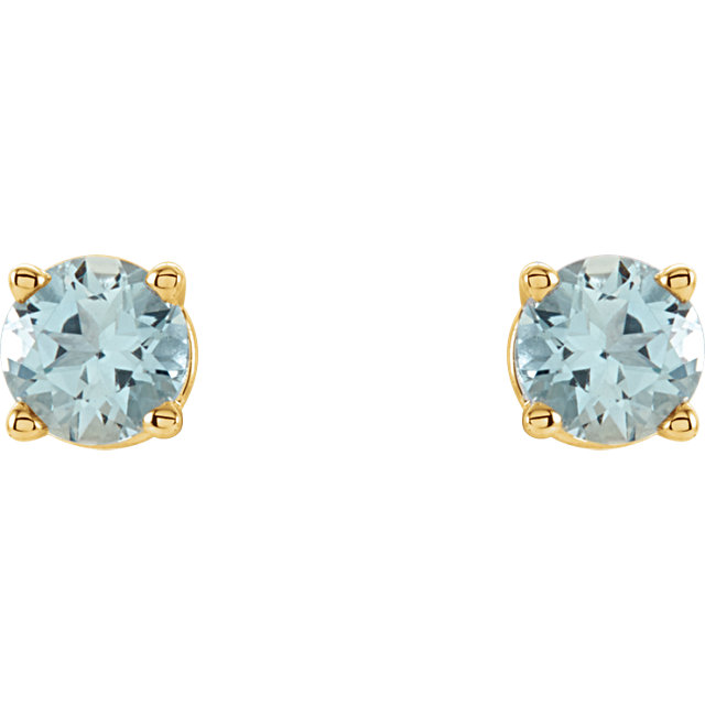 14K Yellow 4 mm Round Aquamarine Earrings