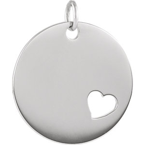 Sterling Silver Pierced Heart Engravable Disc Pendant