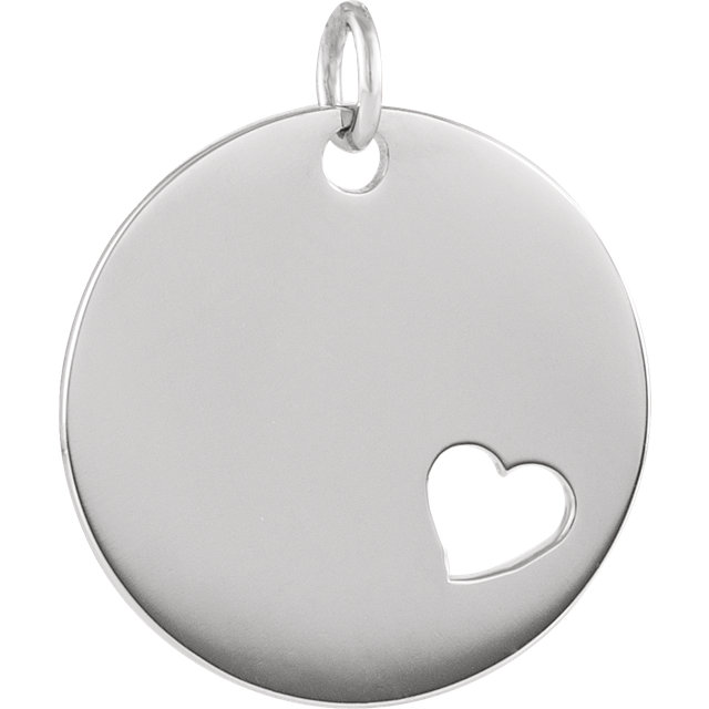 14K White Pierced Heart Engravable Disc Pendant