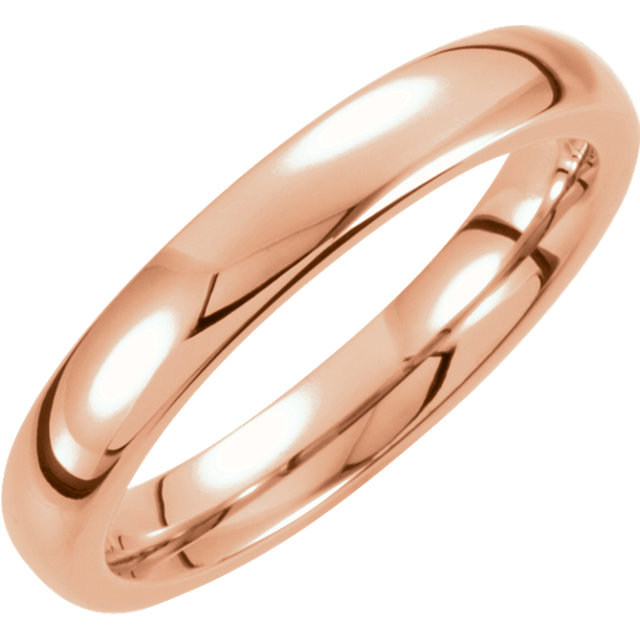 18K Rose Gold PVD Tungsten 4 mm Domed Band Size 8.5