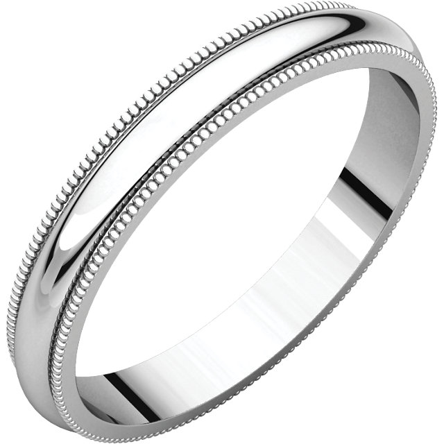 Sterling Silver 3 mm Milgrain Half Round Band Size 15