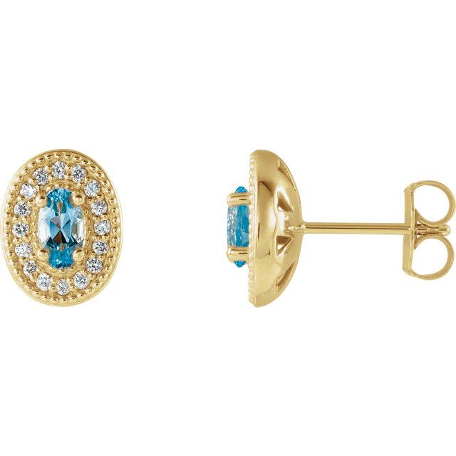 14K Yellow Aquamarine & 1/6 CTW Diamond Halo-Style Earrings