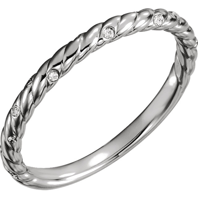 14K White .04 CTW Diamond Rope Band