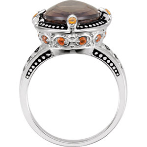 Smoky Quartz, Citrine & Madeira Citrine Granulated Design Ring
