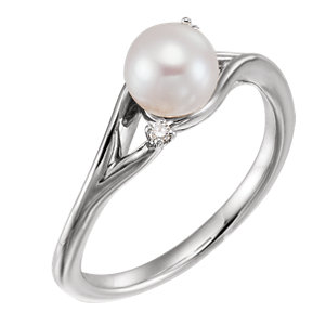 14K White Freshwater Pearl & .03 CTW Diamond Bypass Ring