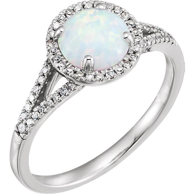 14K White Created Opal & 1/6 CTW Diamond Ring