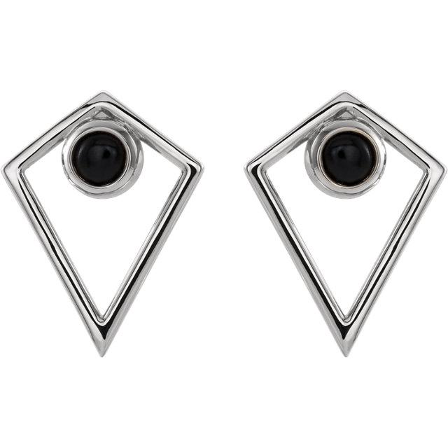 14K White Onyx Cabochon Pyramid Earrings