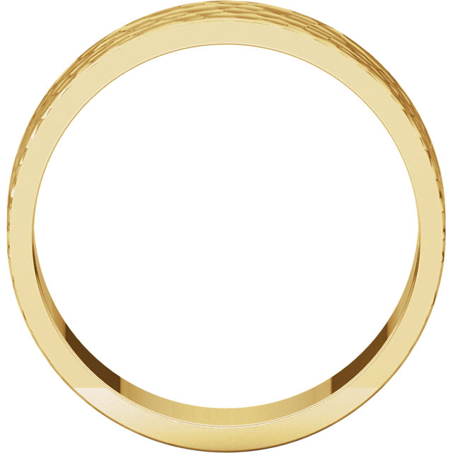 14K Yellow 6mm Flat Band with Hammer Finish Size 6.5