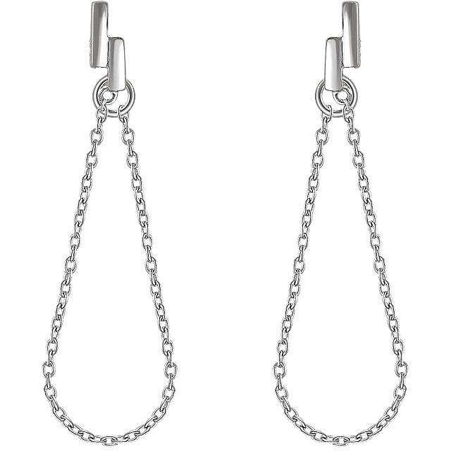 14K White Double Bar Chain Earrings