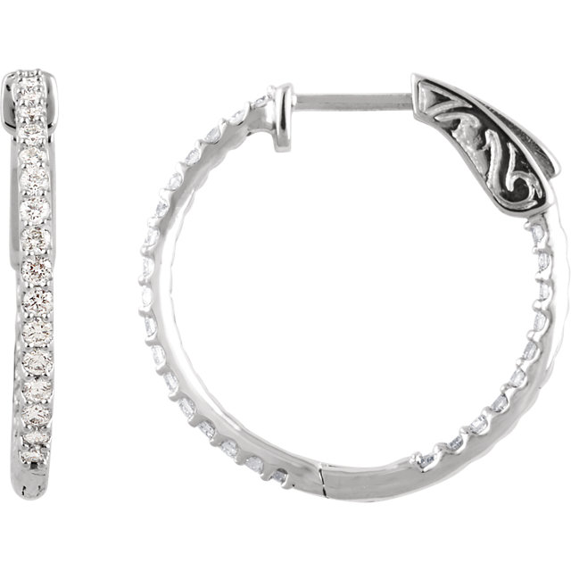 14K White 3/4 CTW Diamond Inside/Outside Hoop Earrings
